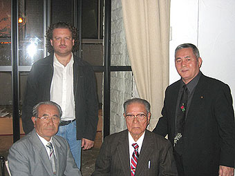 All OkHonbu Dojo (Meibukan) of the Okinawa Goju Ryu-Gojukai in Naha (Okinawa, Japan), Senseinawa Karate Federation (right to left): Hanshi Meitetsu Yagi 10-th dan Goju-ryu, Hanshi Zoen Nakadzato (the founder of Shorinji-ryu) 10-th dan, Hanshi Chinen 10-th dan Goju-ryu, Kioshi Valeriy Maistrovoy 7-th dan.